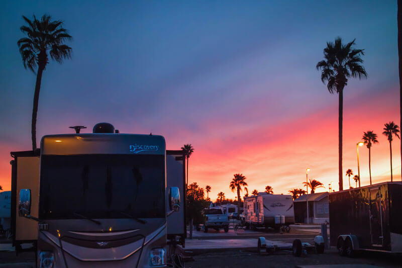 RV Windows sunset view